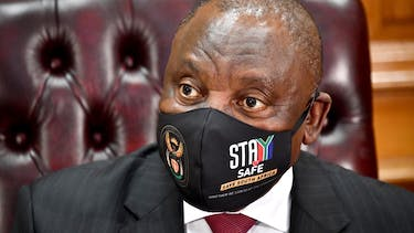 South African president Cyril Ramaphosa wears a fact mask promoting anti-COVID-19 safety measures