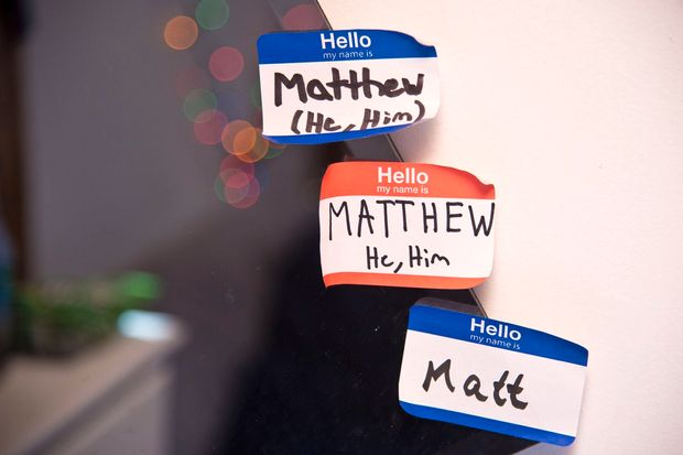 Nametags on the bedroom wall of a transgender                   teen in Crownsville, Md., Feb. 7, 2016.