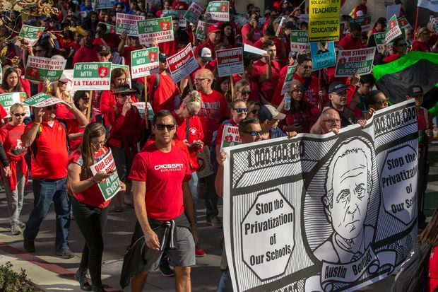 Thousands of teachers march in Los Angeles, Dec.                  15, 2018.