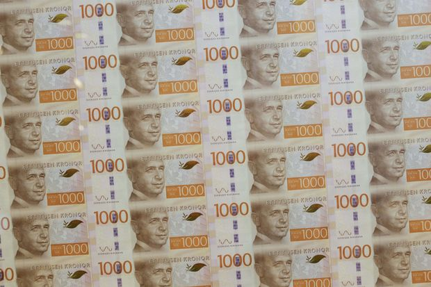 Currency notes from Sweden's central bank.