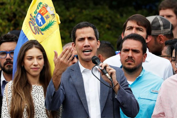 Venezuela's acting-President Juan Guaidó at a                       rally in Caracas, Jan. 26.