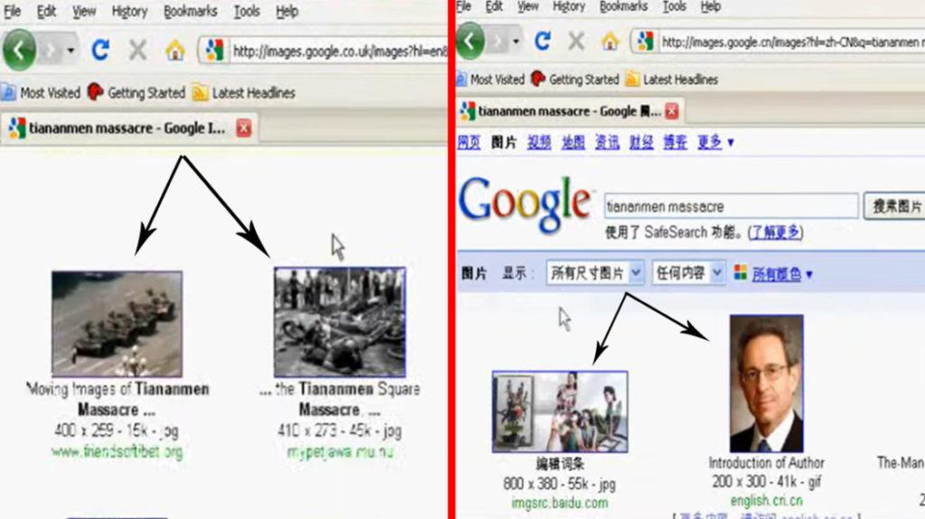"""Thử nghiệm cùng một từ khóa """"tiananmen massacre"""" (thảm sát Thiên An Môn) trên Google tiếng Anh và tiếng Trung. Kết quả trên Google tiếng Anh cho thấy các hình ảnh thật về sự kiện Thiên An Môn 1989, ngược lại Google tiếng Trung đã không hiển thị các hình ảnh tương tự."""