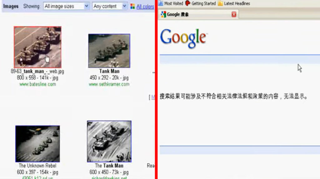 """Điều tương tự xảy ra khi gõ từ khóa liên quan đến sự kiên Thiên An Môn nổi tiếng: """"tank man"""". Kết quả trên Google tiếng Anh và Google tiếng Trung hoàn toàn trái ngược nhau. (Nguồn: video)"""