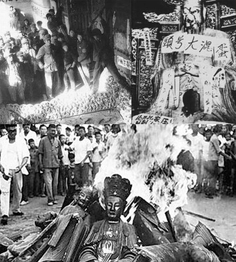 các đền chùa của Phật giáo, Đạo giáo, các bức tượng Phật, các danh thắng cổ tích, các bức thư pháp đều bị phá bỏ.