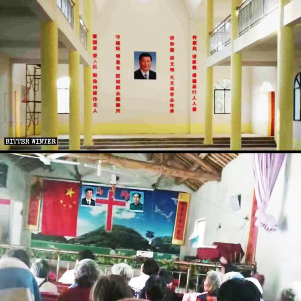 Gần đây, chân dung của Tập Cận Bình còn thay chỗ ảnh của Đức Mẹ Maria trong một trường Công Giáo ở tỉnh Giang Tây.