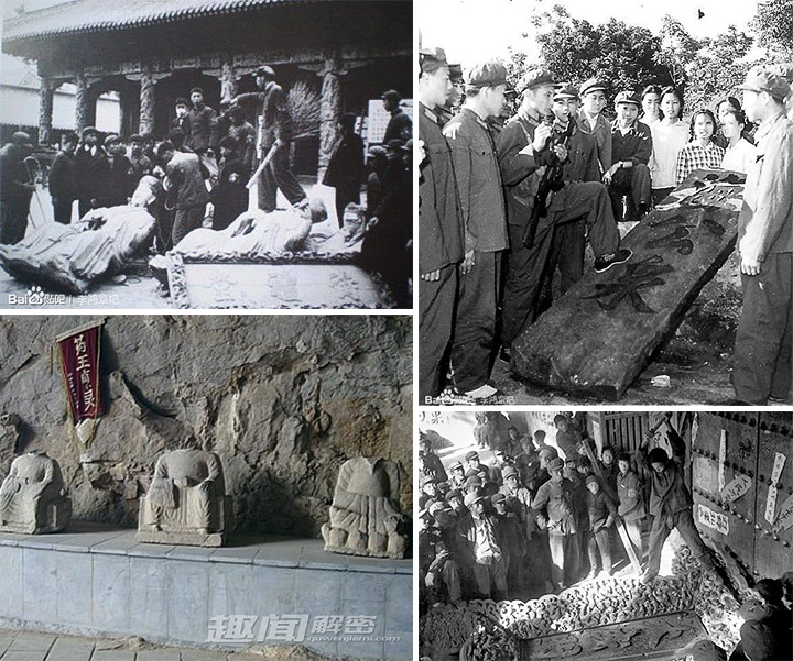 """Cách mạng Văn hóa tiến hành """"tạo phản Khổng gia điếm"""", phá hoại điên cuồng, đốt cổ thư, đập phá gần 1.000 bia đá các đời, trong đó có cả bia mộ của Khổng Tử"""
