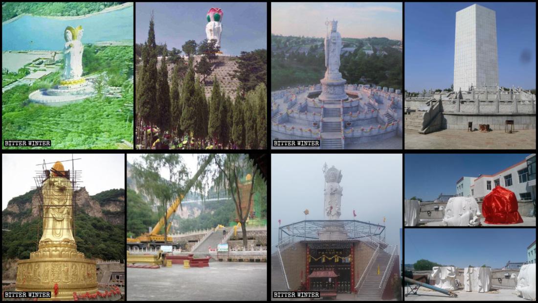Những tượng Phật lớn bị chính quyền bắt che mặt, sửa chữa biến hình, che chắn không để dân nhìn thấy hoặc phá hủy