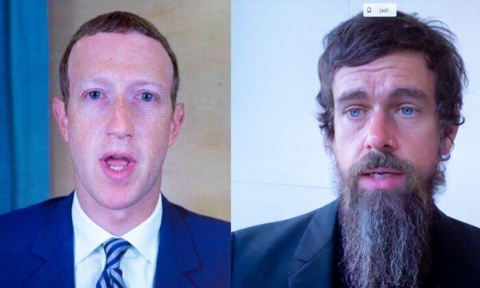 Giám đốc điều hành Facebook Mark Zuckerberg và Giám đốc điều hành Twitter Jack Dorsey làm chứng trực tuyến trước Quốc hội vào ngày 28 tháng 10 năm 2020 (Ảnh: Michael Reynolds / Pool / AFP qua Getty Images)