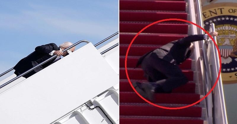 Ông Joe Biden trượt ngã 3 lần khi đi lên cầu thang của Air Force One, ngày 19/3/2021. (Ảnh: East Coast Daily)