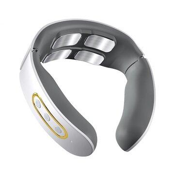 Электрический беспроводной умный массажер Шея TENS Pulse Relieve Шея Pain 4 Head Vibrator Отопление шейный массаж Здоровье Уход