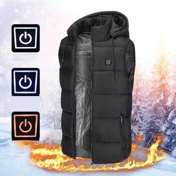 TENGOO унисекс 3-шестерни куртки с подогревом USB электрическая термо одежда 2 места с подогревом зимний теплый жилет На открытом воздухе тепло