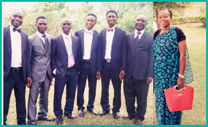 Five Ugandan brothers with parents