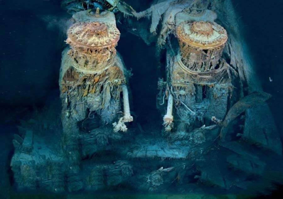 Часть обломков Титаника на дне океана