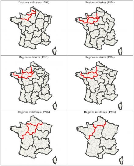Document 2 – Les départements normands au sein des différents découpages en régions militaires