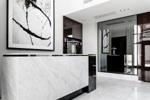 A luxurious condo with marble as high-end finish