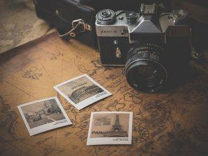 Old camera and photos.