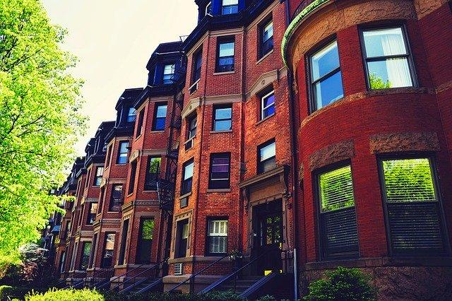 A row of brownstones in Boston.