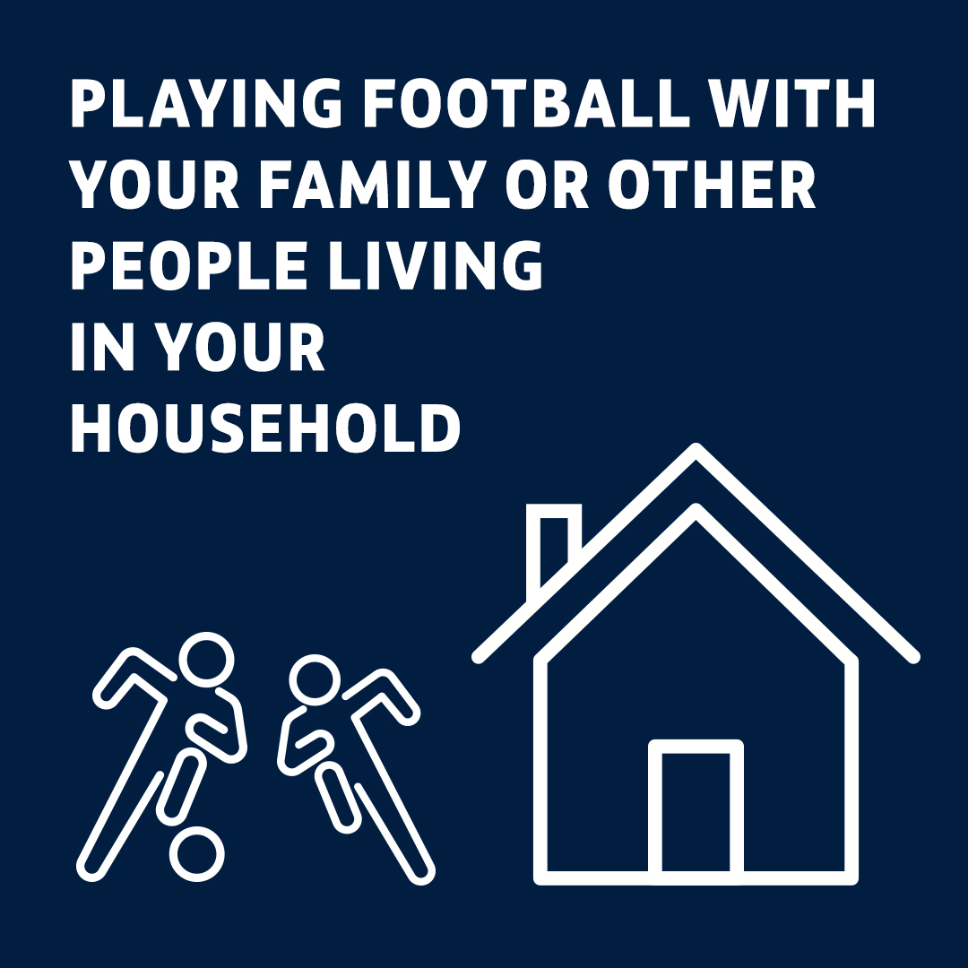 Playing football with family or other members of your household