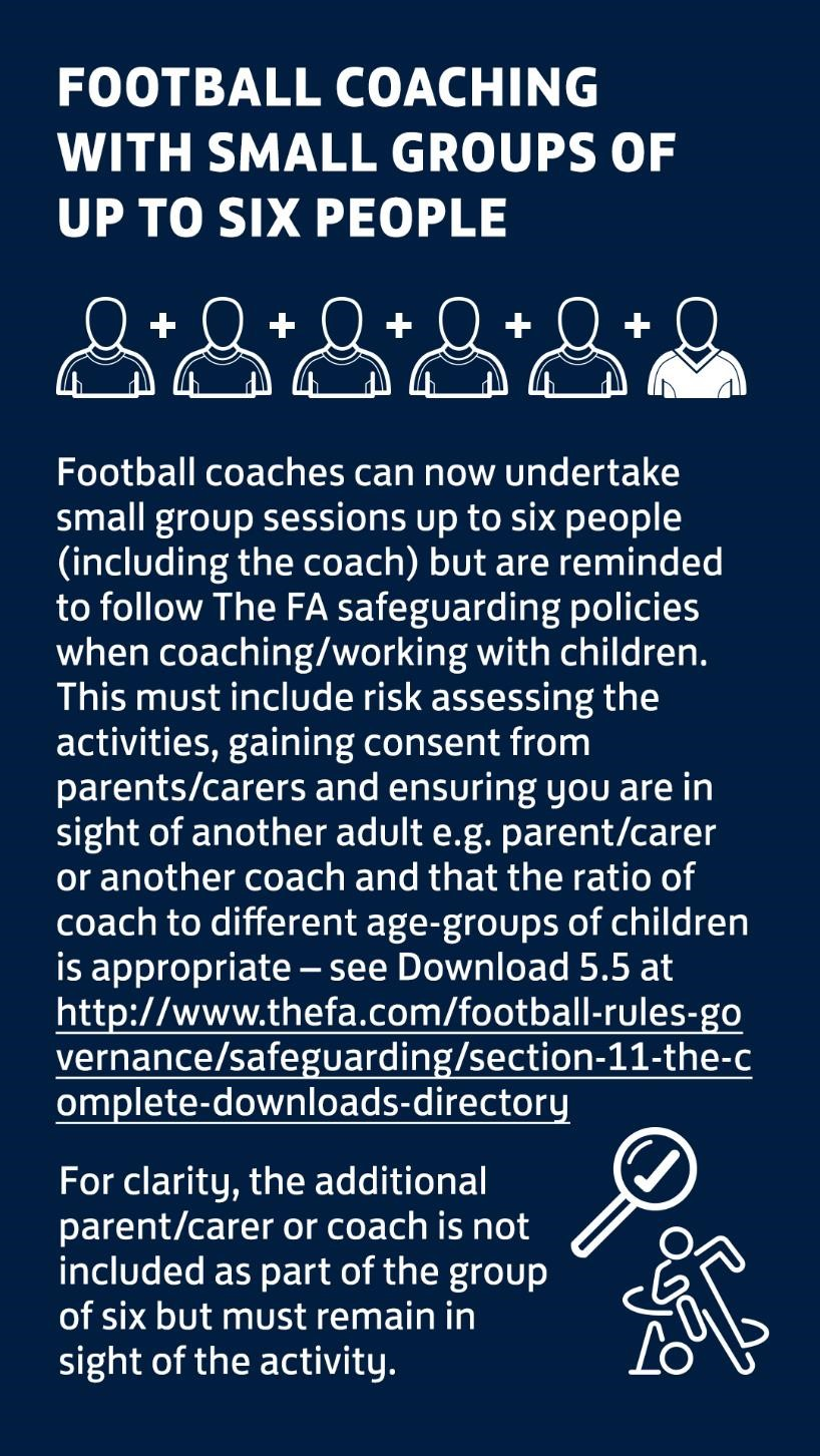 Football coaching with small groups up to 6 people