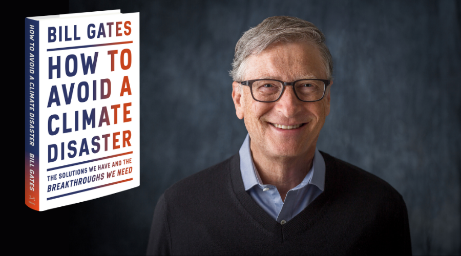 Bill Gates with a image of the cover of 'How to Avoid a Climate Disaster'