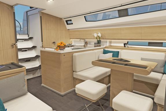 J/45 offshore sailing yacht- white oak interior