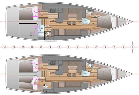 J/45 offshore sailing yacht- interior plans