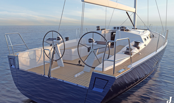 J/45 offshore sailing yacht cockpit and wheels