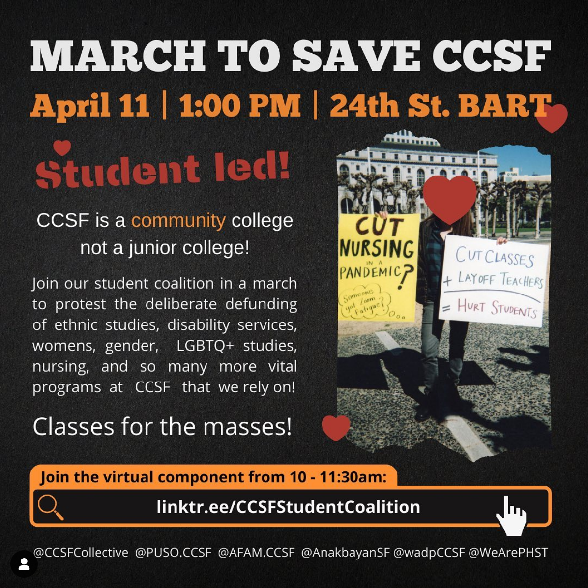 Student-led webinar and rally to save CCSF @ 24th Street BART