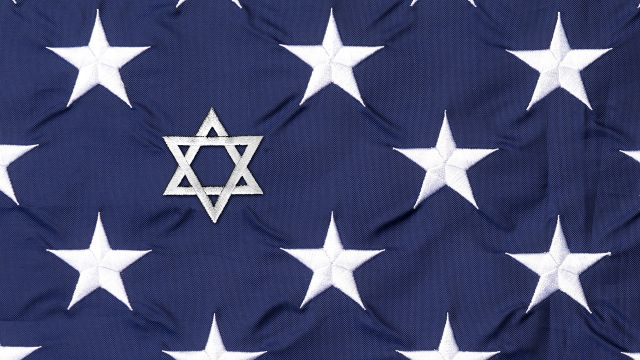 An image of an American flag with one star replaced with a Star of David.