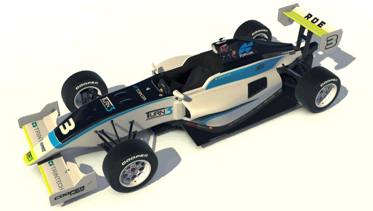 Rendering of James Roe's #3 Trintech sponsored Indy Pro 2000 race car