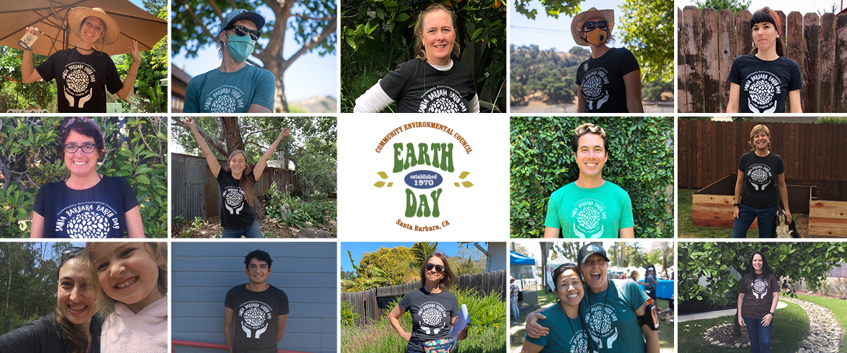 Earth Day logo, photos of CEC staff in Earth Day Festival tee shirts