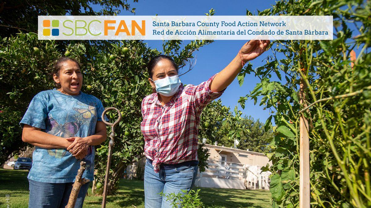 SBCFAN logo, members in a community garden