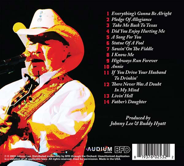 """Johnny Lee """"Everything's Gonna' Be Alright"""" (back cover)"""