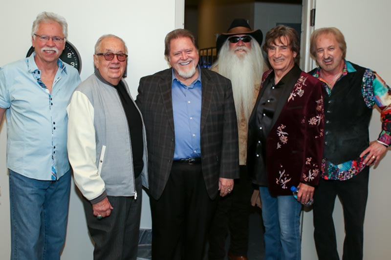 Joe Bonsall, Jim Halsey, Dallas Frazier, William Lee Golden, Richard Sterban, Duane Allen backstage at the Country Music Hall of Fame and Museum March 5, 2018.