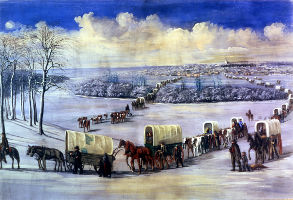 Painting by C.C.A. Christensen of the Saints leaving Nauvoo