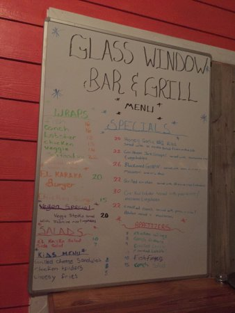 Image result for picture of the menu of the window of a restaurant a bar and grill