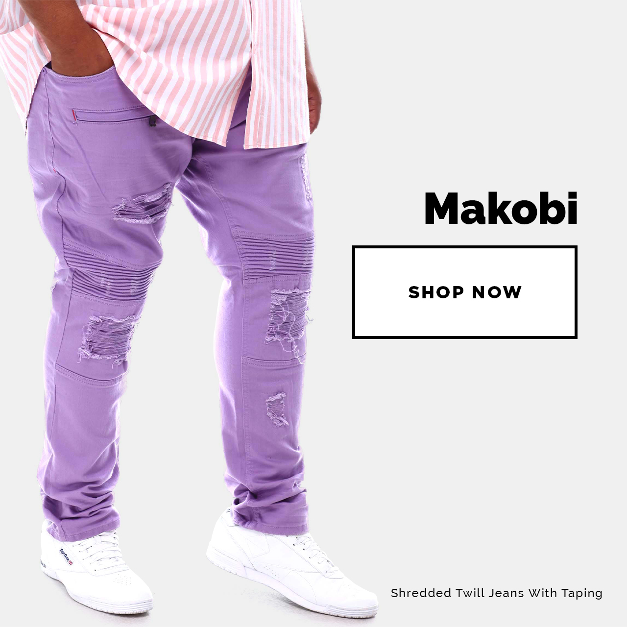 Makobi - Shop Now! Featuring Shredded Twill Jeans With Taping