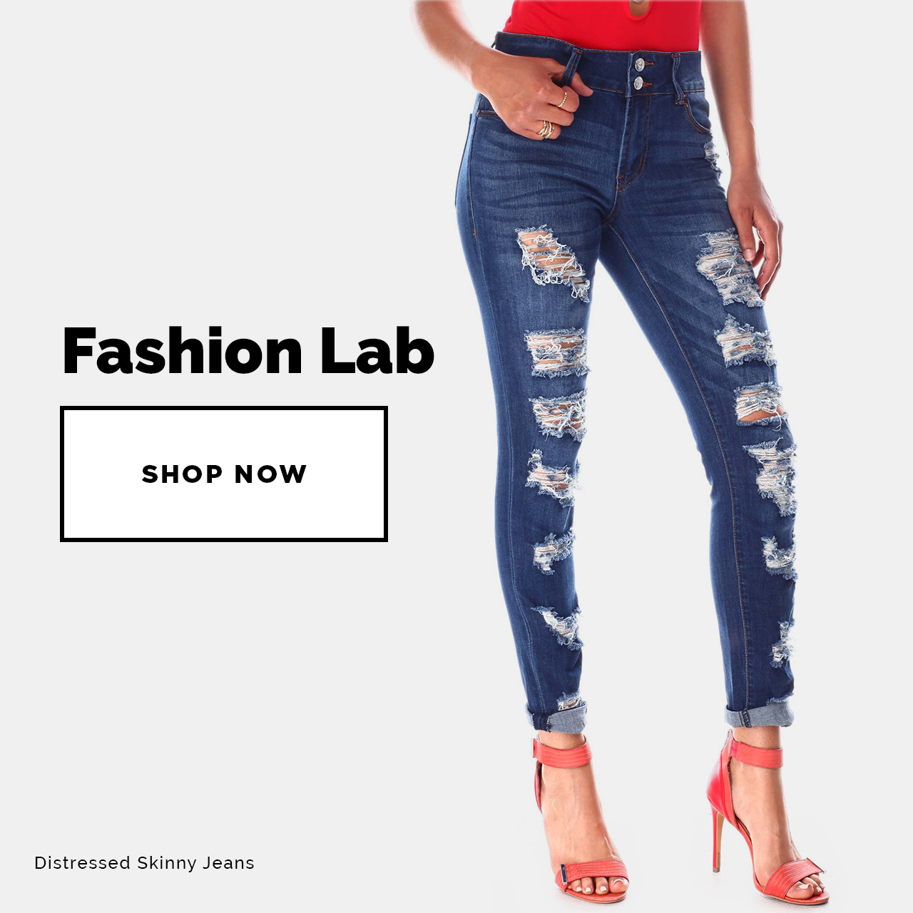 Fashion Lab - Shop Now! Featuring Distressed Skinny Jeans