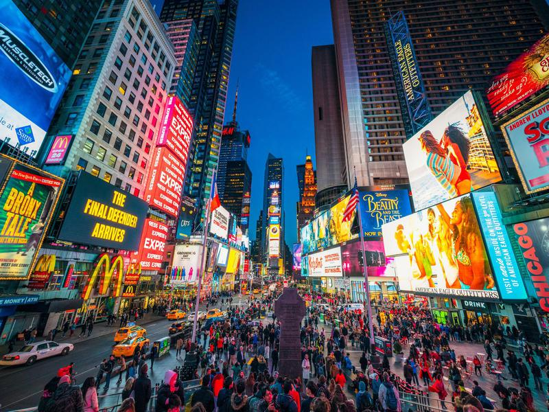 Times Square fills with tourists when it's time to see Broadway shows.