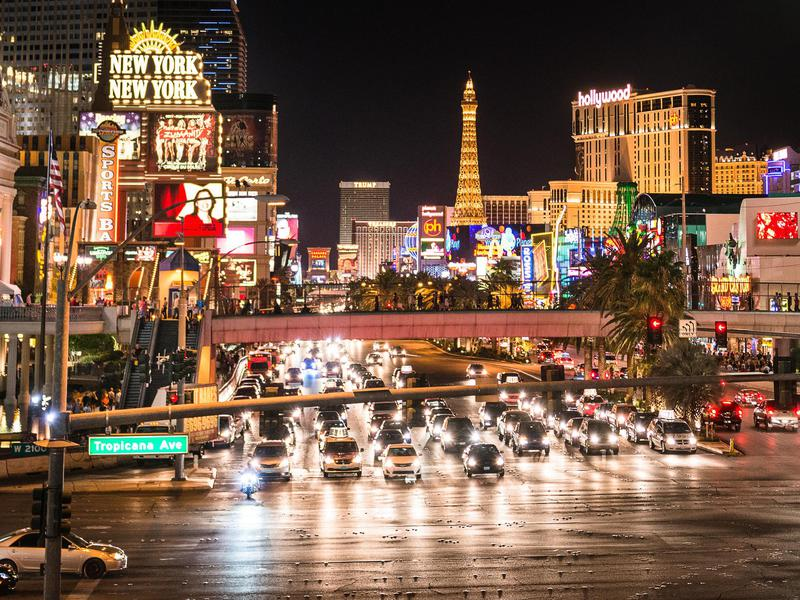 Especially at night, The Strip is overtaken by car and foot traffic.