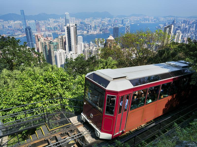 A funicular provides transport to Victoria Peak and its unbeatable views.