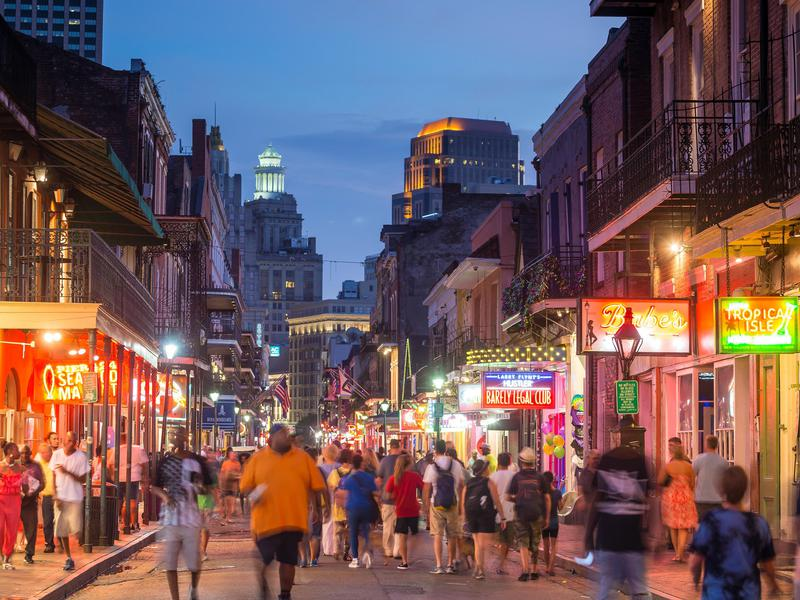 Bourbon Street is particularly packed at night.