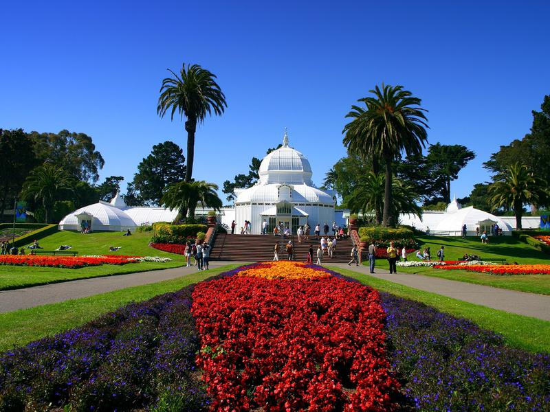 The Conservatory of Flowers is one of many popular attractions inside sprawling Golden Gate Park.