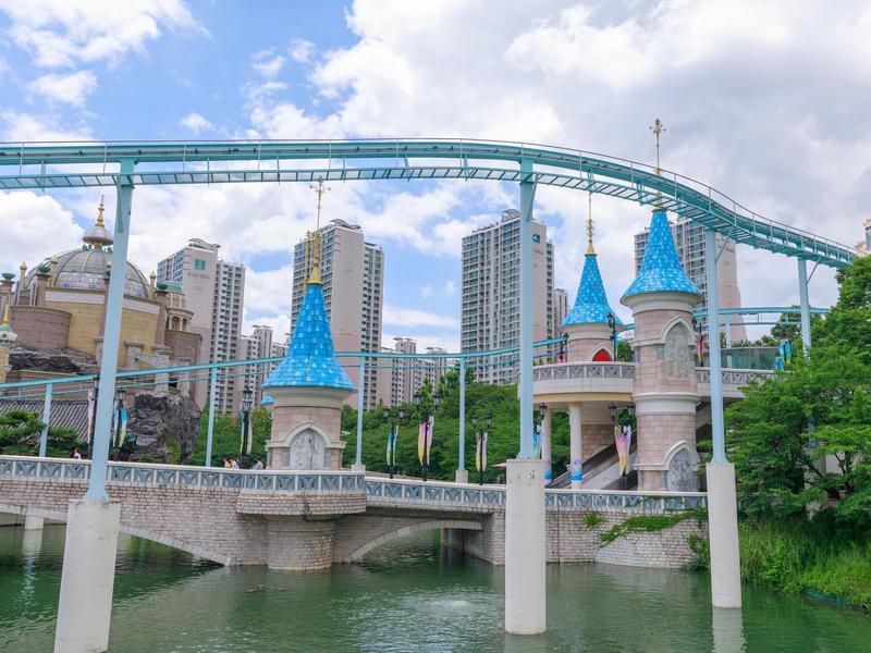 Lotte World amusement theme park around Seokchon Lake, Seoul, South Korea.