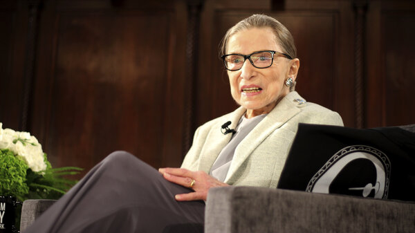 Supreme Court Justice Ruth Bader Ginsburg appears at an event in New York in 2018, days before undergoing surgery for early stage lung cancer.