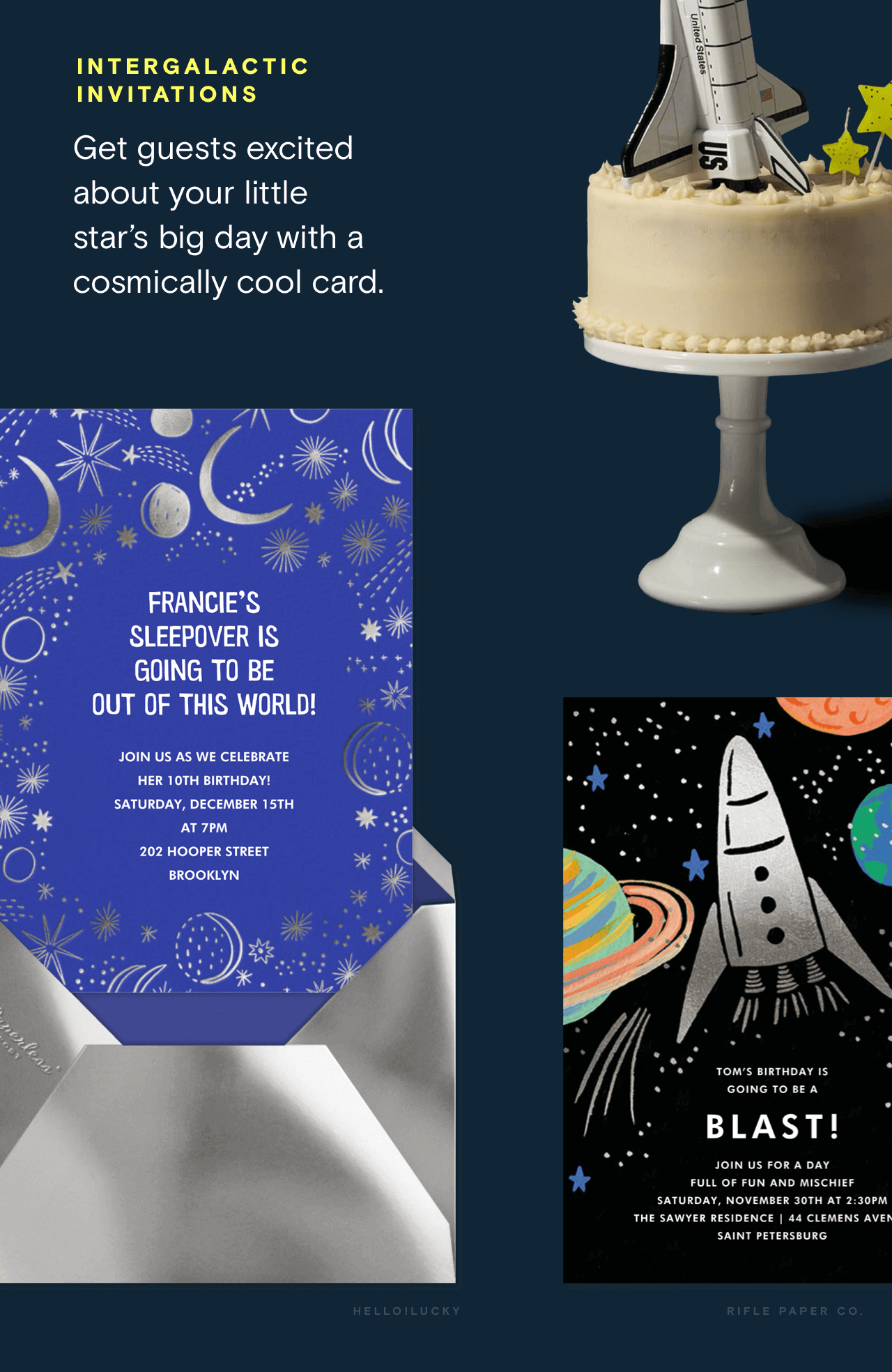 Intergalactic invitations: Get guests excited about your little star's big day with a cosmically cool online card.