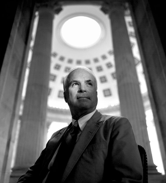 John McCain in the Russell Senate Office Building, 1996.