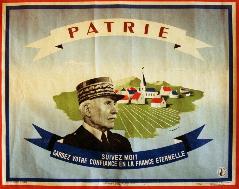 Affiche de propagande pétainiste réalisée par Bernard Villemot en 1943.