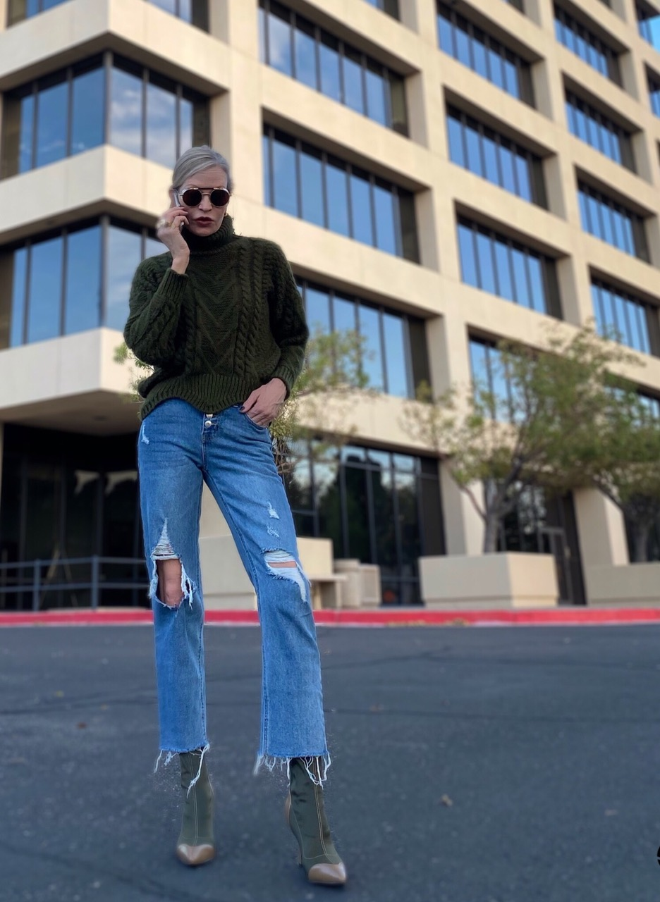 Lifestyle Influencer, Jamie Lewinger of More Than Turquoise wearing SheIn cap toe mid calf boots