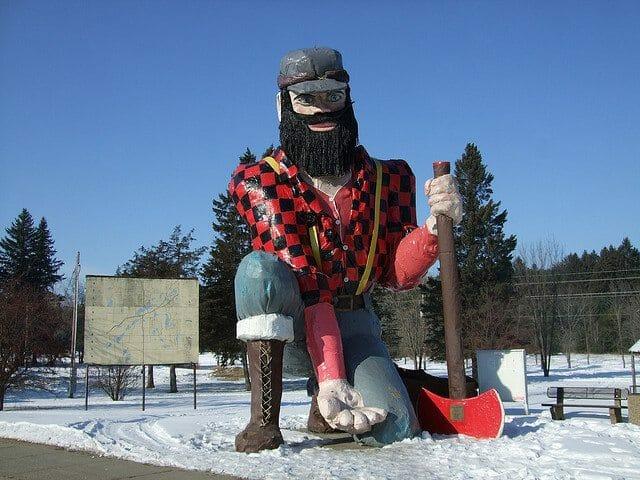 Statue of Paul Bunyan in Akeley, MN